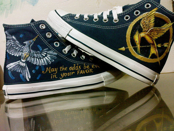 Mockingjay Hunger Game Inspired Hand Painted Canvas Shoes High T-1