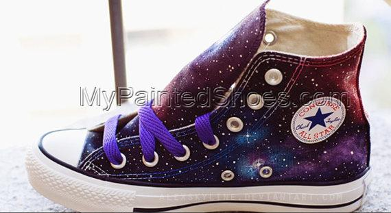 Galaxy Sneakers Hand Painted High Top Shoes-2