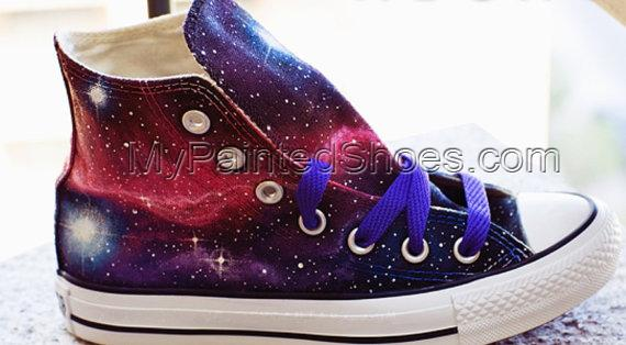 Galaxy Sneakers Hand Painted High Top Shoes-3