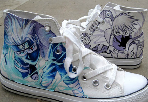 Kakashi Anime Sneaker Naruto Hand Paint Kakashi on Sneakers-1