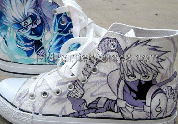Kakashi Anime Sneaker Naruto Hand Paint Kakashi on Sneakers-2