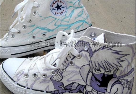 Kakashi Anime Sneaker Naruto Hand Paint Kakashi on Sneakers-4