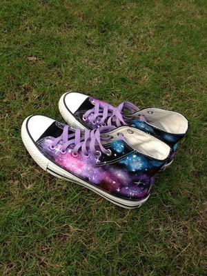 Galaxy Sneakers Hand Painted High-top Painted Canvas Shoes-1
