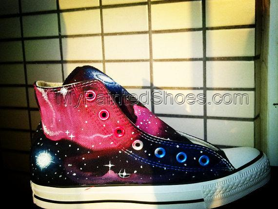 Galaxy Sneakers Hand Painted Shoes High Top Painted Canvas Shoes-4