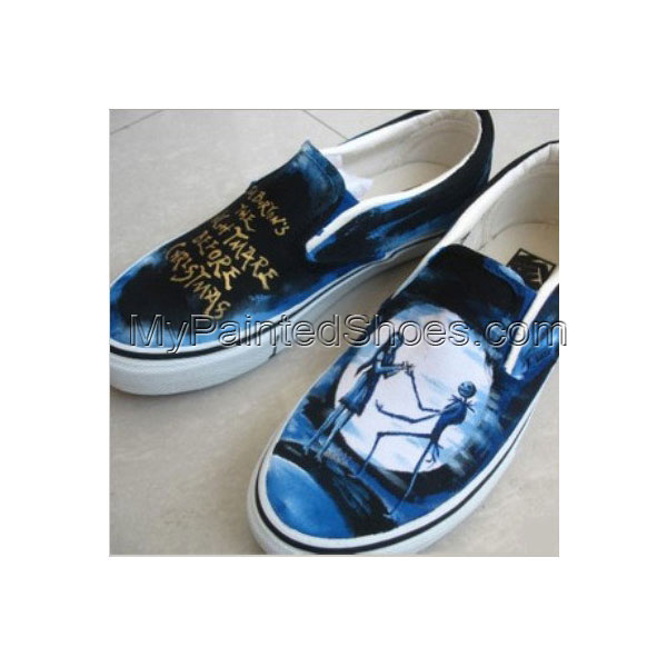 The Nightmare Before Christmas Hand Painted Slip On Shoes