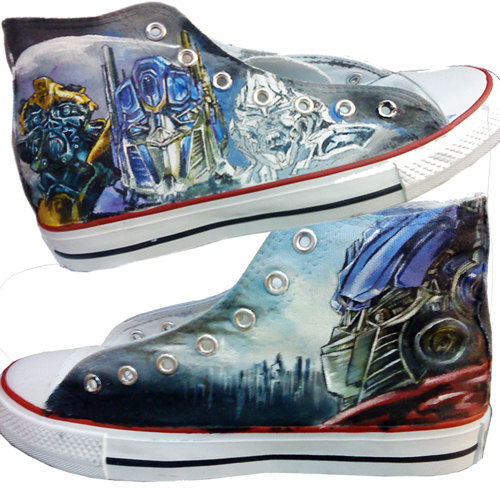 Transformers Sneakers Handcraft Painting Shoes High-top Painted -1