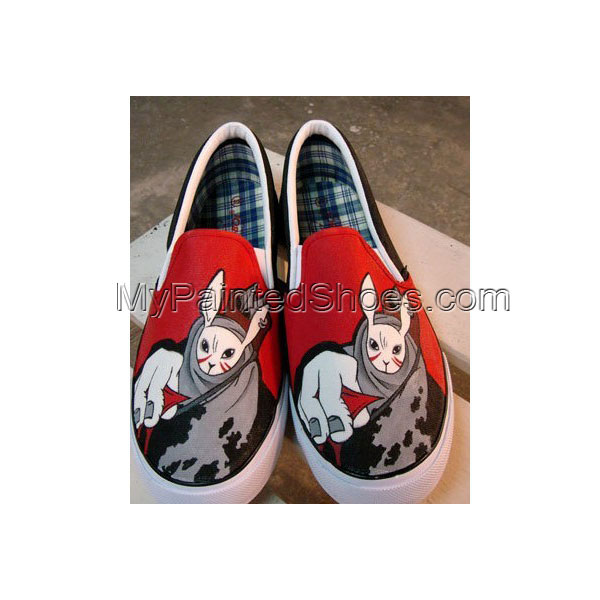 The Bunny Archer Slip-on Painted Canvas Shoes Hand Painted Custo