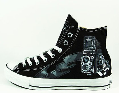 Vintage Camera Shoes Sneaker High-top Painted Canvas Shoes-1