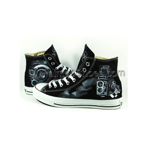 Vintage Camera Shoes Sneaker High-top Painted Canvas Shoes