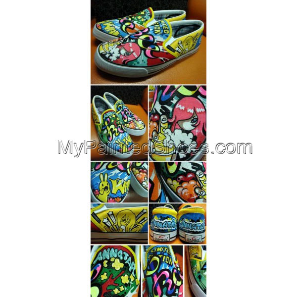 Mali Power Girl Slip-on Painted Canvas Shoes Hand Painted Custom