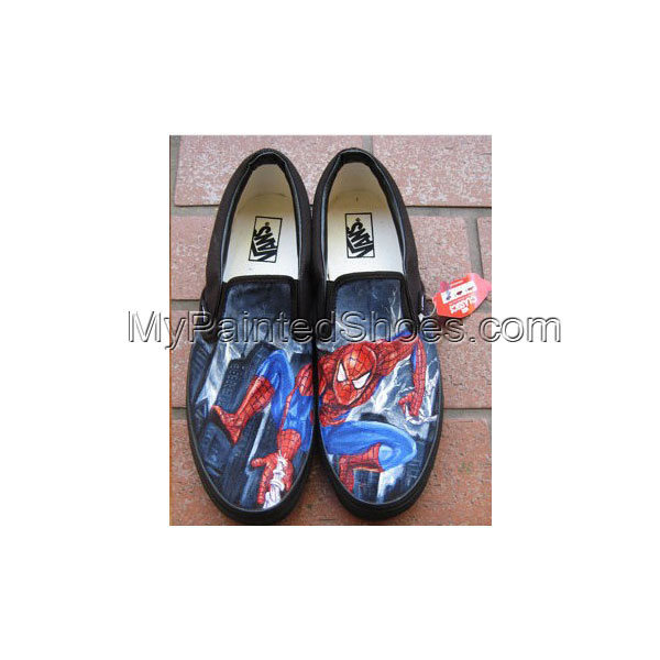 Sneakers Spider Man Hand Painted Canvas Shoes Custom Slip-on Sho