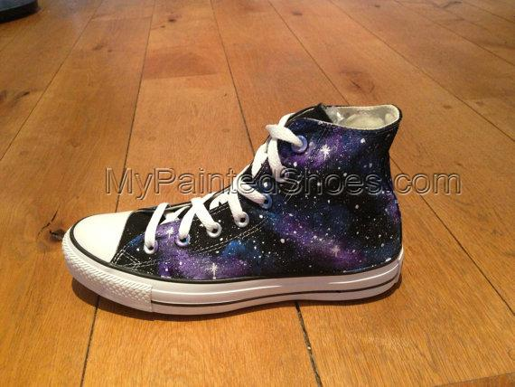 Galaxy Hitop Shoes Galaxy Hand Painted Shoes-3