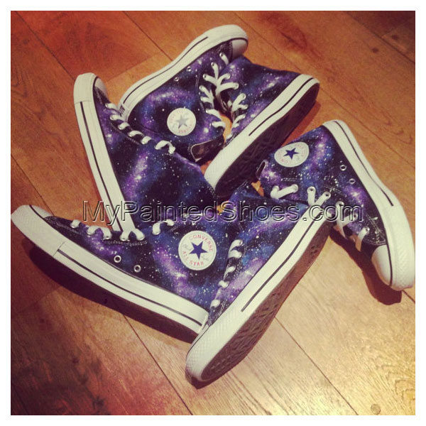 Galaxy Hitop Shoes Galaxy Hand Painted Shoes