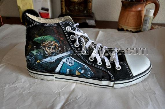 Custom Hand Painted Shoes Zelda Painted Canvas Shoes-4