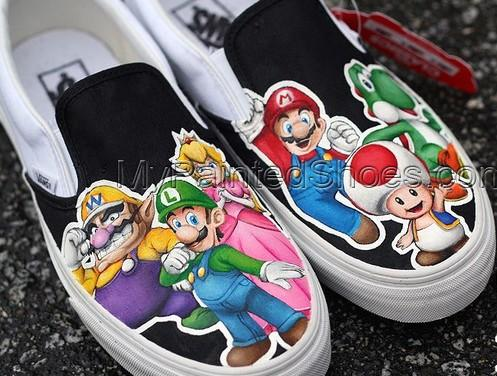 Custom Shoes Super Mario Shoes Slip-on Painted Canvas Shoes-3