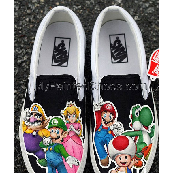 Custom Shoes Super Mario Shoes Slip-on Painted Canvas Shoes