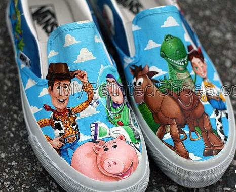 Custom Toy Story Shoes Slip-on Painted Canvas Shoes-3