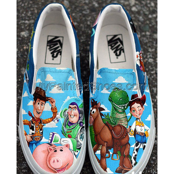 Custom Toy Story Shoes Slip-on Painted Canvas Shoes