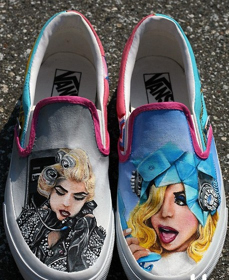 Custom Lady Gaga Telephone Shoes Slip-on Painted Canvas Shoes-1