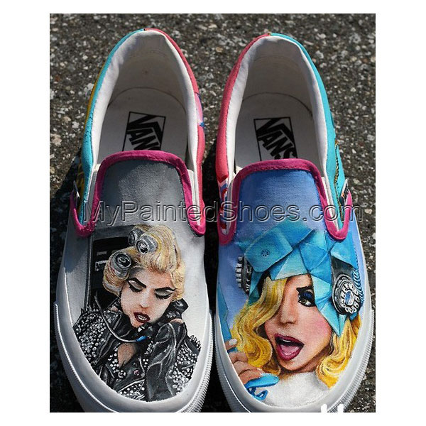 Custom Lady Gaga Telephone Shoes Slip-on Painted Canvas Shoes