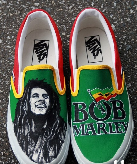 Custom Bob Marley Shoes Slip On Painted Canvas Nike
