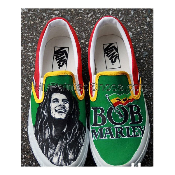 Custom Bob Marley Shoes Slip on Painted Canvas Shoes