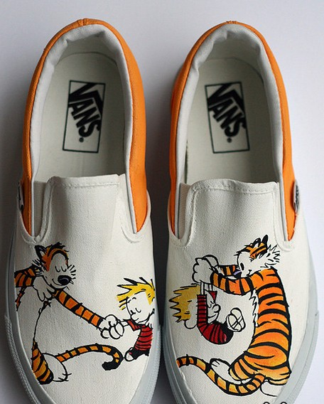 custom Calvin and Hobbes Shoes Slip-on Painted Canvas Shoes-1