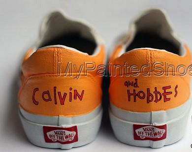 custom Calvin and Hobbes Shoes Slip-on Painted Canvas Shoes-3