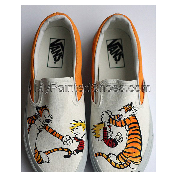 custom Calvin and Hobbes Shoes Slip-on Painted Canvas Shoes