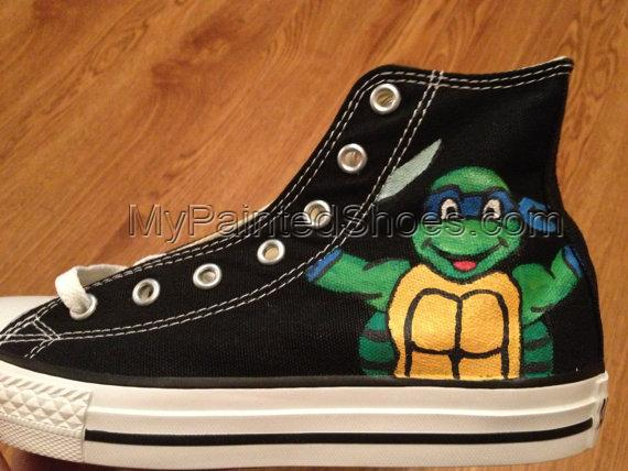 TMNT Hand Painted Custom Shoes TMNT Shoes High-top Painted Canva-3