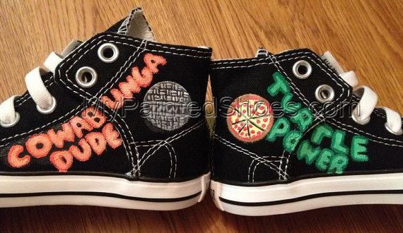 TMNT Hand Painted Custom Shoes TMNT Shoes High-top Painted Canva-4