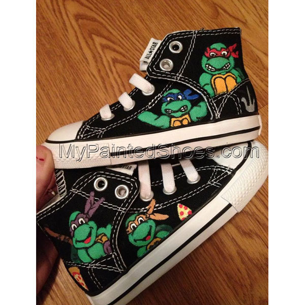 TMNT Hand Painted Custom Shoes TMNT Shoes High-top Painted Canva