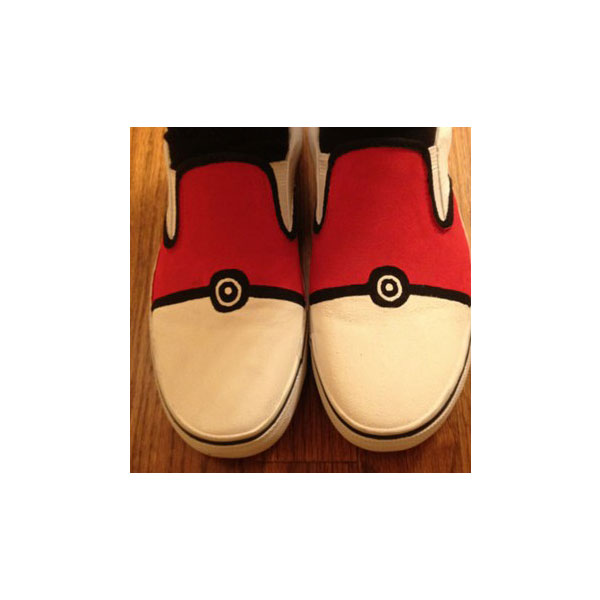 Hand Painted Pokemon (Pokeball) Slip On Shoes