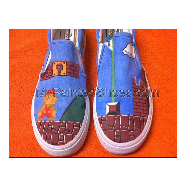Super Mario Video game canvas hand painted shoes