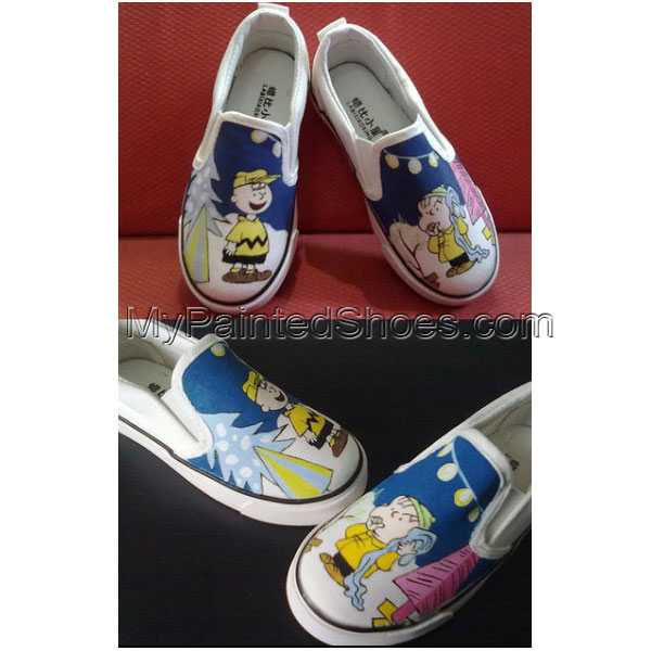 Cute Snoopy hand painted slip on shoes for kids