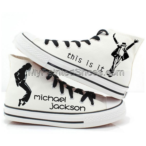 Michael Jackson custom shoes High-top Painted Canvas Shoes