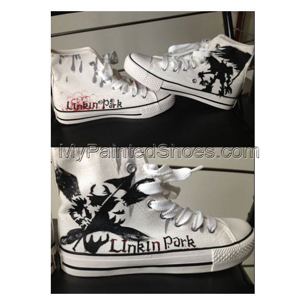 Linkin Park hand painted sneakers High-top Painted Canvas Shoes