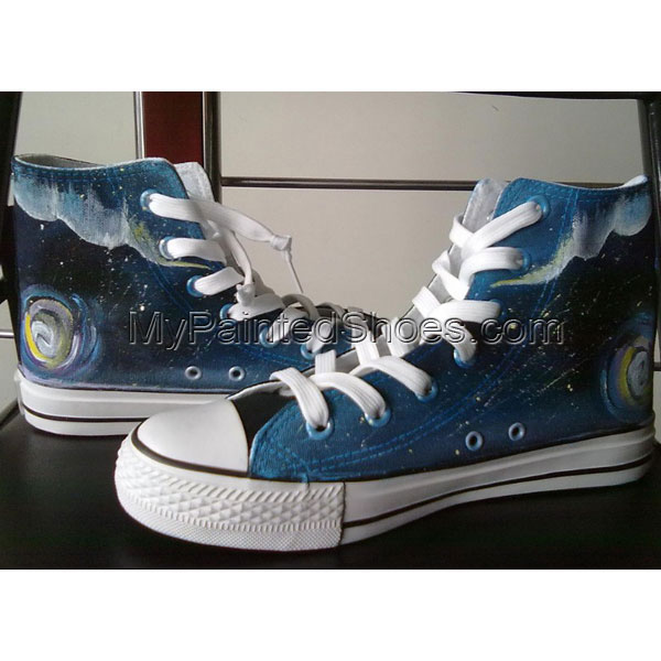 Meteor Shower hand painted sneakers High-top Painted Canvas Shoe