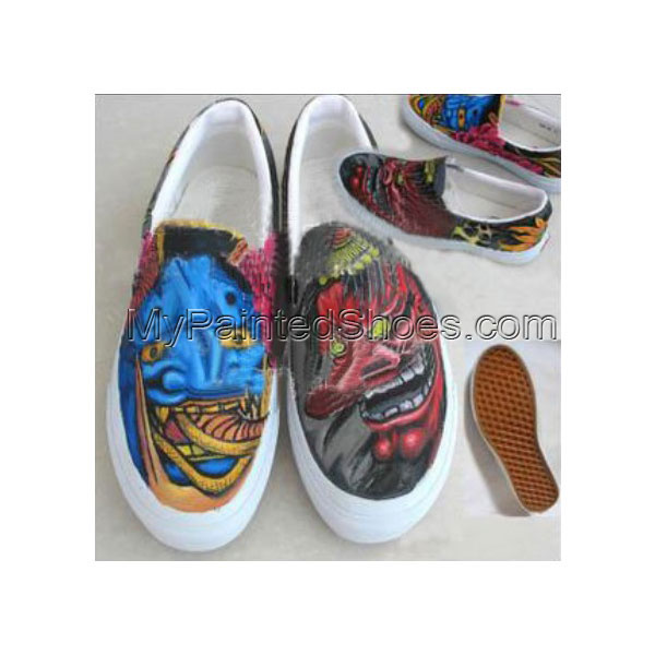 Stylish Tattoo hand painted shoes Slip-on Painted Canvas Shoes