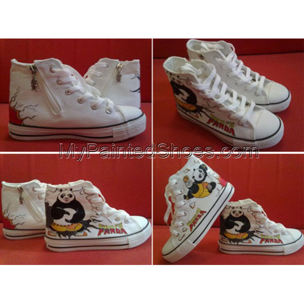 Kung fu panda high top sneakers for kids Painted Canvas Shoes
