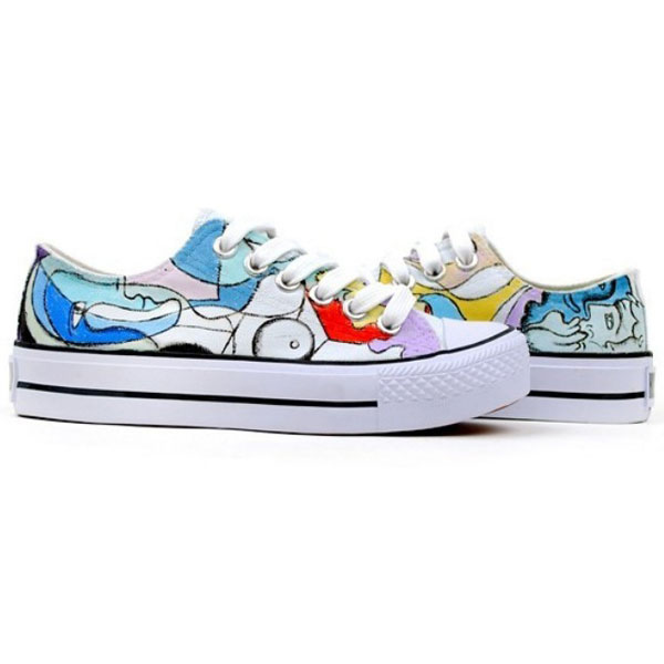 Pablo Picasso Style shoes Low-top Painted Canvas Shoes