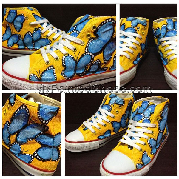 Blue Butterfly High-top Painted Canvas Shoes