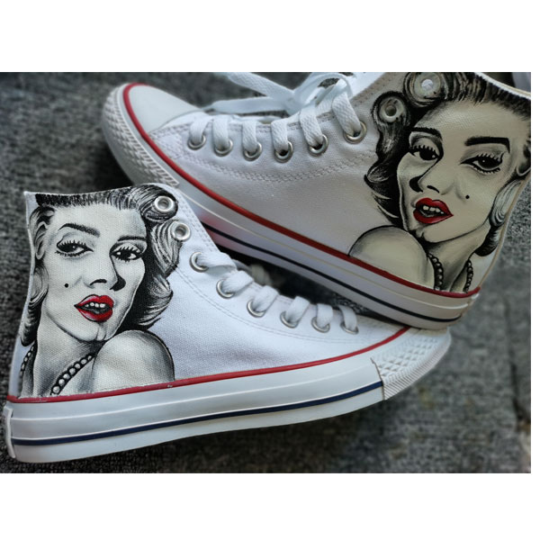 Marilyn Monroe painting shoes Slip-on Painted Canvas Shoes