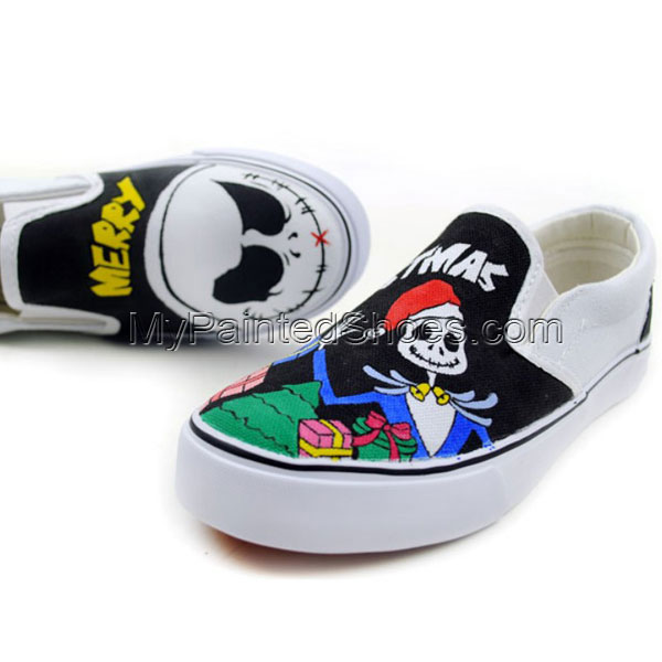 Skull design Punk style shoes Slip-on Painted Canvas Shoes