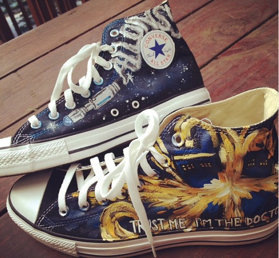 Doctor Who Inspired shoes High-top Painted Canvas Shoes-1
