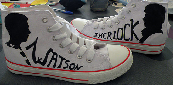 Johnlock shoes High-top Painted Canvas Shoes-3