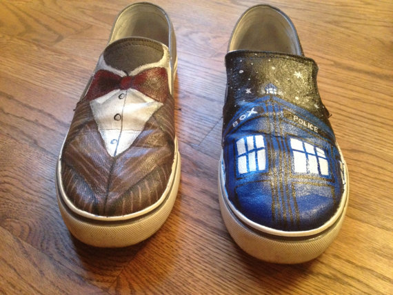 Custom Painted Doctor Who Shoes Slip-on Painted Canvas Shoes-1