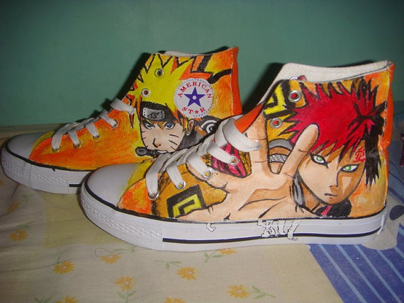 Hand Painted Naruto Gaara Anime Custom Sneakers High-top Painted-1