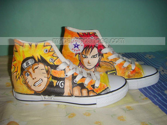 Hand Painted Naruto Gaara Anime Custom Sneakers High-top Painted-3