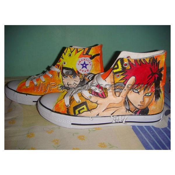 Hand Painted Naruto Gaara Anime Custom Sneakers High-top Painted